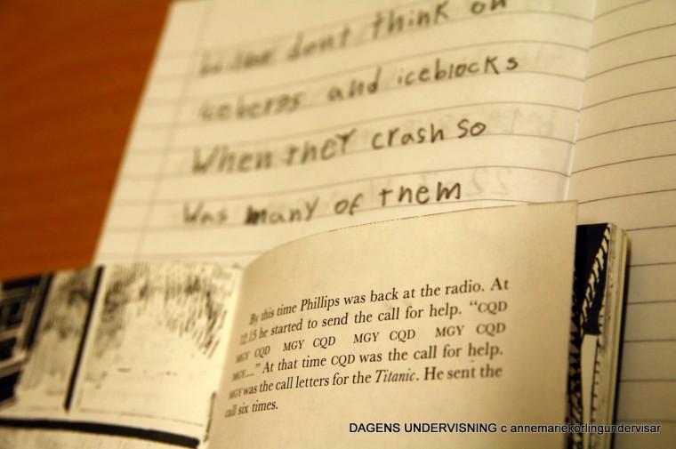Eleven läser helt frivilligt en engelsk bok om Titanic. Detta omfattande arbete är elevens eget. Anne-Marie är samtalspartner och närvarande. 2009