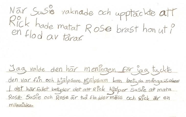 Skrivande gensvar på blädderblocksmeningarna och den stora muntliga undervisningen som följer med den, tänker Anne-Marie Körling som tittar på elevens arbete i årskurs tre.
