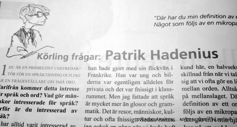 """""""Körling frågar"""" Patrik Hadenius i Svenskläraren  nr 4 2009"""