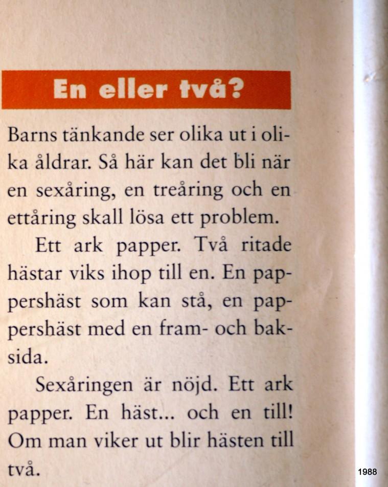 Körling har skrivit en gång i tiden - I FÖräldrar och Barn 1991 - Körlings ord