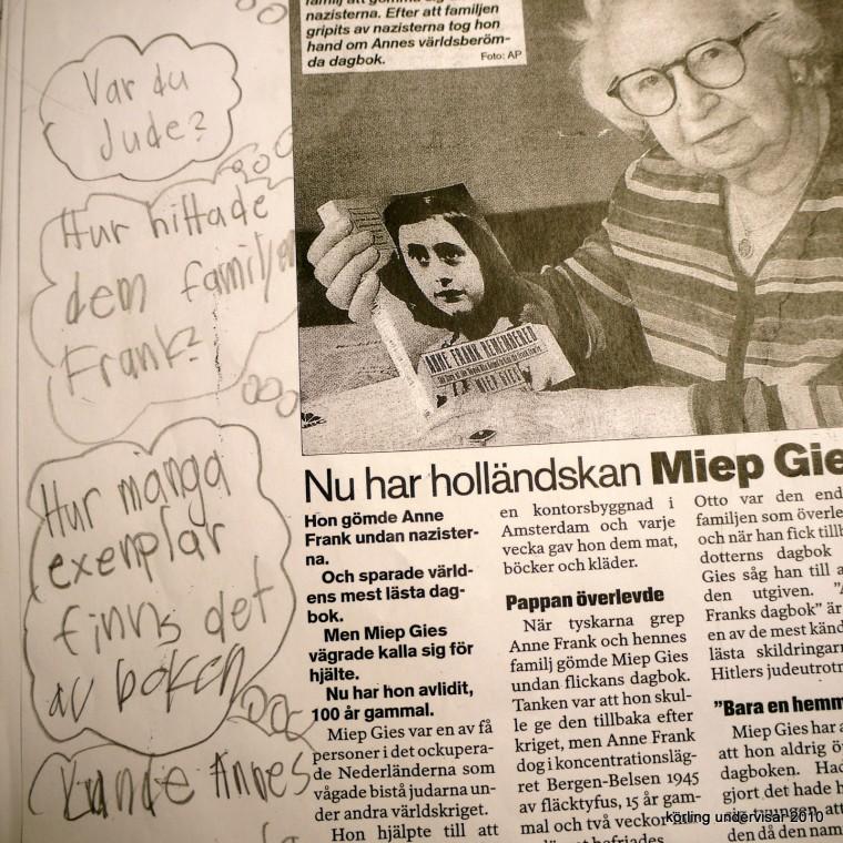 Körling undervisar om Anne Frank och dagboken 2010