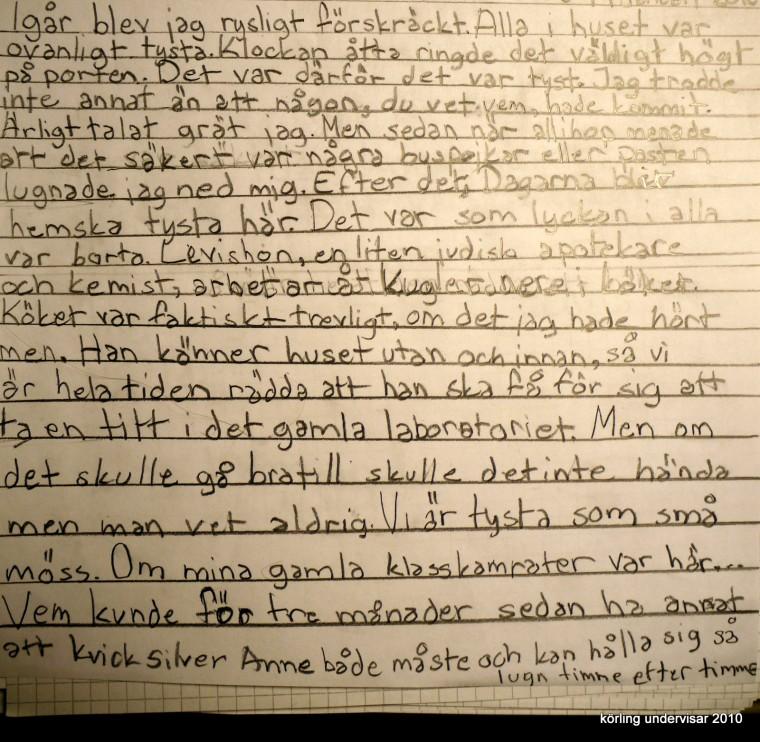 Elevens text till Anne Franks Dagbok - körling undervisar