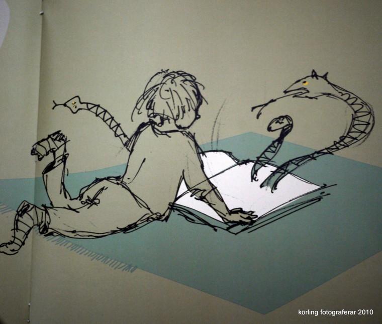 Illustration ur boken JAG BLIR GLAD av A-M Körling med illustrationer av brorsan Anders Körling. Bonniers 2005