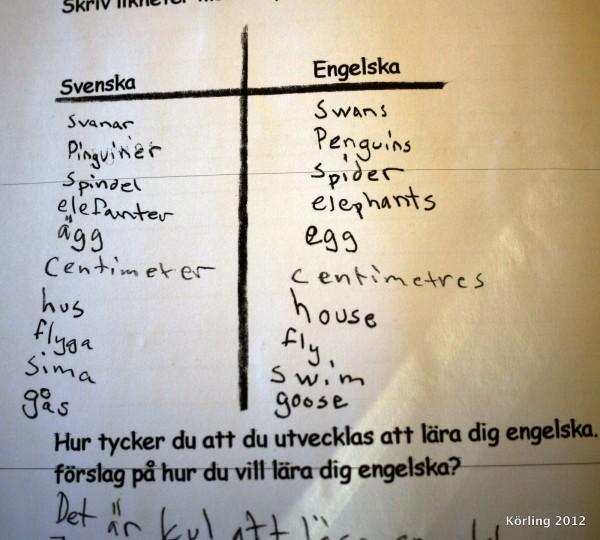 Så här blir det när vi söker likheter mellan språken! En undervisningstanke.