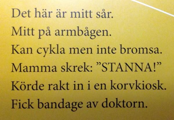 Plåstertext av Anne-Marie Körling