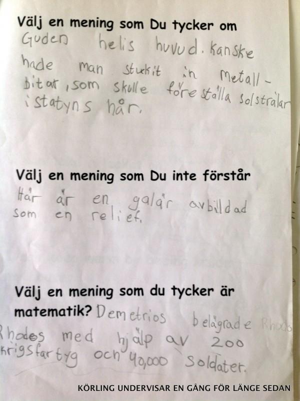 Textfunderingar årskurs 3 - körling undervisar 2004