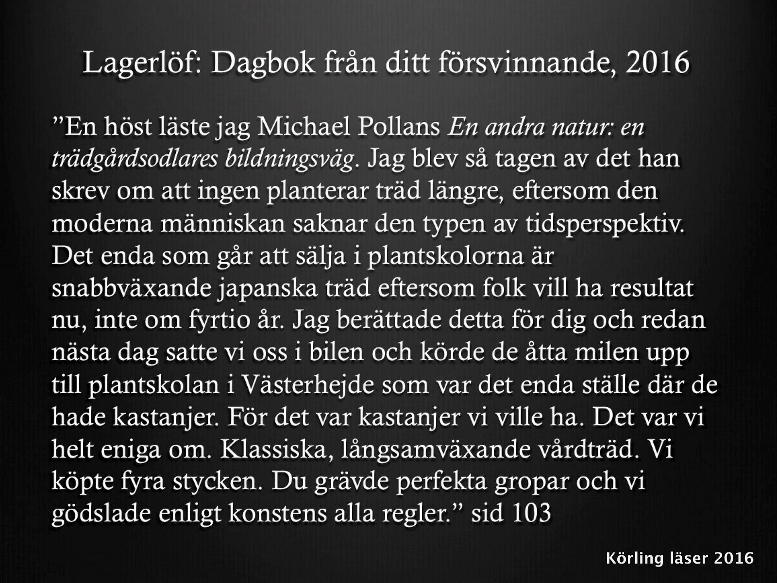 Dagbok från ditt försvinnande, 2016